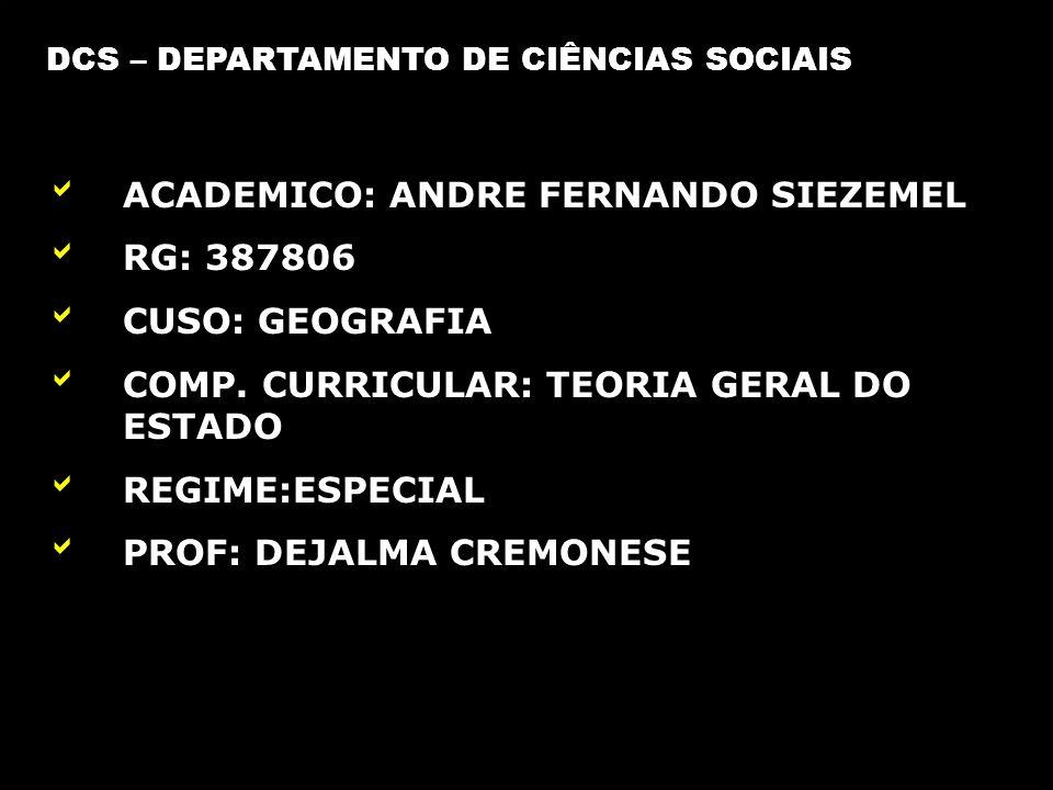 ACADEMICO: ANDRE FERNANDO SIEZEMEL RG: 387806 CUSO: GEOGRAFIA