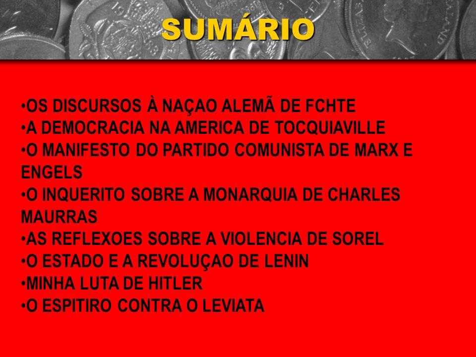SUMÁRIO OS DISCURSOS À NAÇAO ALEMÃ DE FCHTE