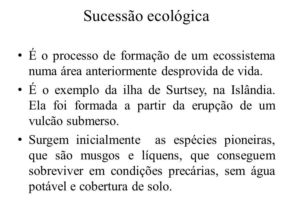 Sucessão ecológicaÉ o processo de formação de um ecossistema numa área anteriormente desprovida de vida.