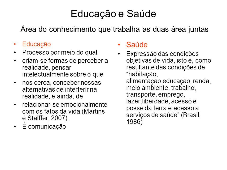Educação e Saúde Área do conhecimento que trabalha as duas área juntas