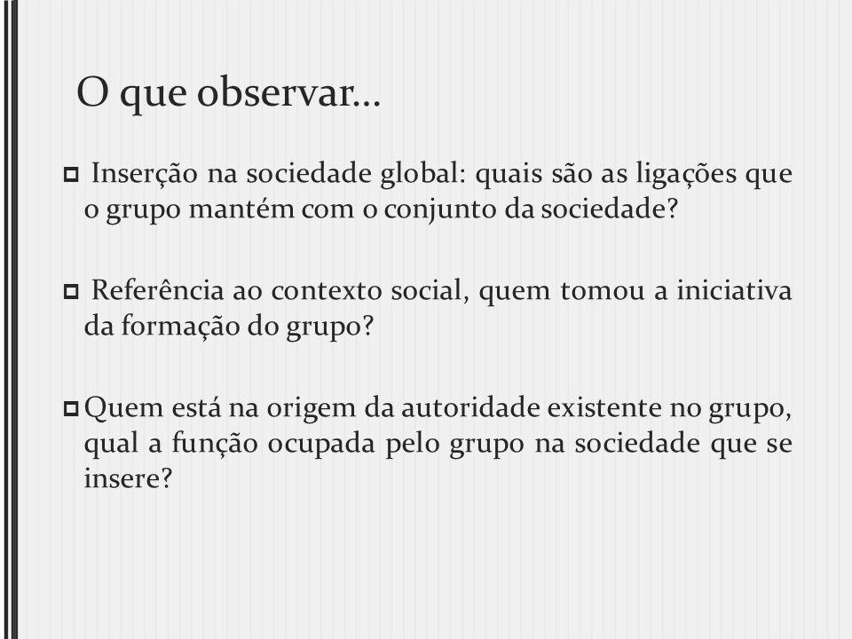 O que observar… Inserção na sociedade global: quais são as ligações que o grupo mantém com o conjunto da sociedade