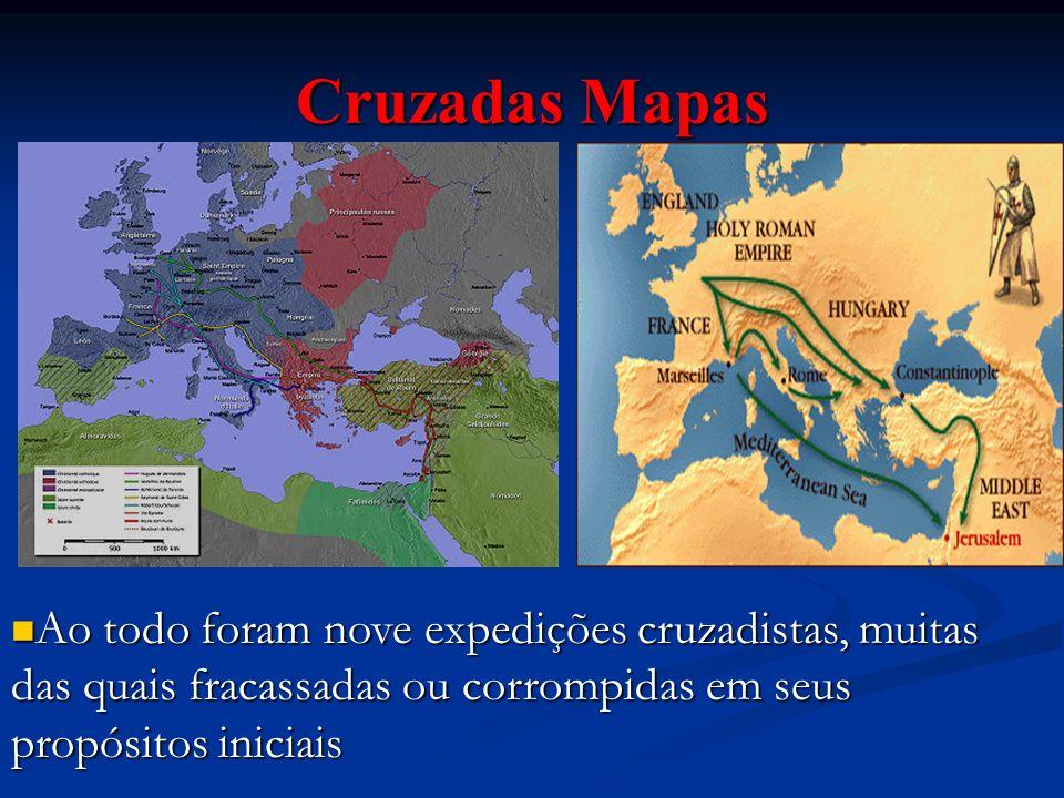 Cruzadas Mapas Ao todo foram dez expedições cruzadistas, muitas das quais fracassadas ou corrompidas em seus propósitos iniciais.
