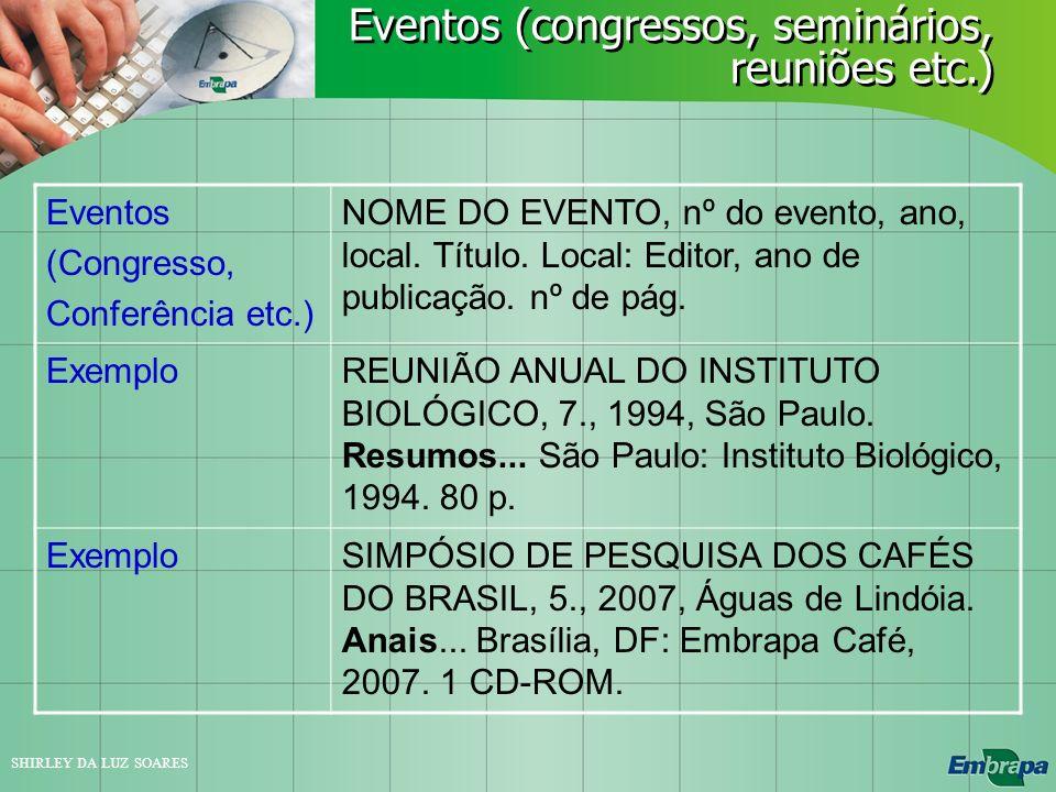 Eventos (congressos, seminários, reuniões etc.)