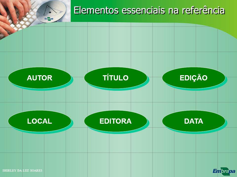 Elementos essenciais na referência