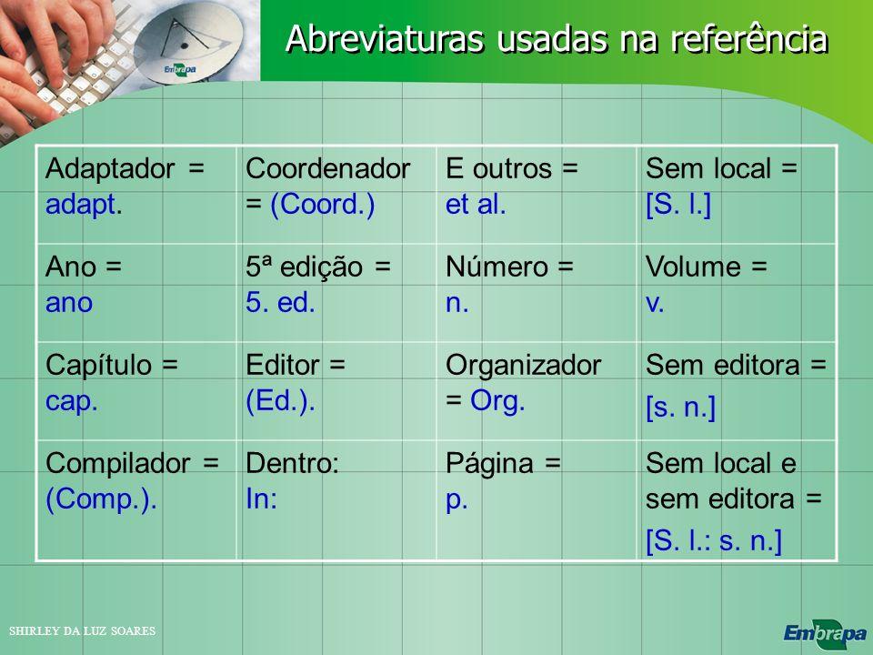 Abreviaturas usadas na referência