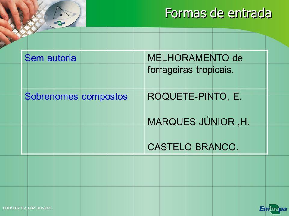 Formas de entrada Sem autoria MELHORAMENTO de forrageiras tropicais.