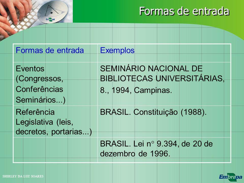 Formas de entrada Formas de entrada Exemplos Eventos (Congressos,