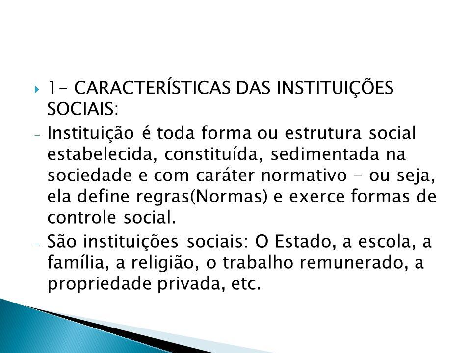 1- CARACTERÍSTICAS DAS INSTITUIÇÕES SOCIAIS: