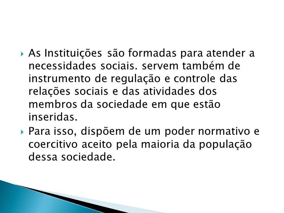 As Instituições são formadas para atender a necessidades sociais