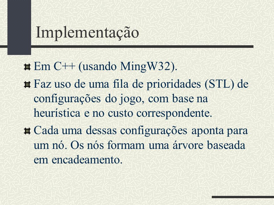 Implementação Em C++ (usando MingW32).