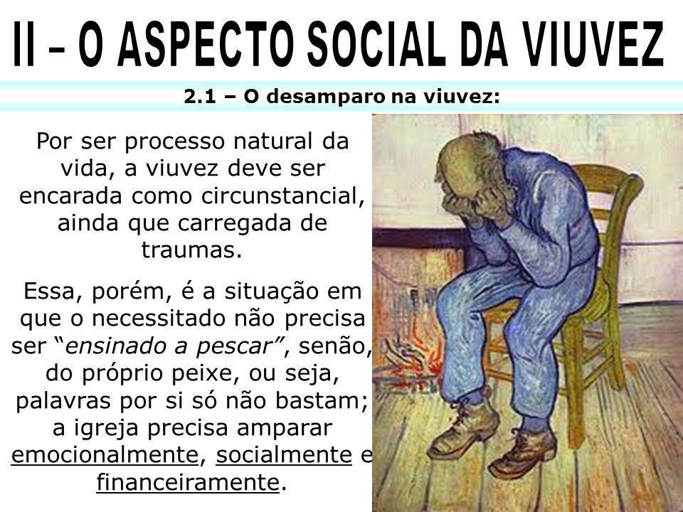 II – O ASPECTO SOCIAL DA VIUVEZ 2.1 – O desamparo na viuvez: