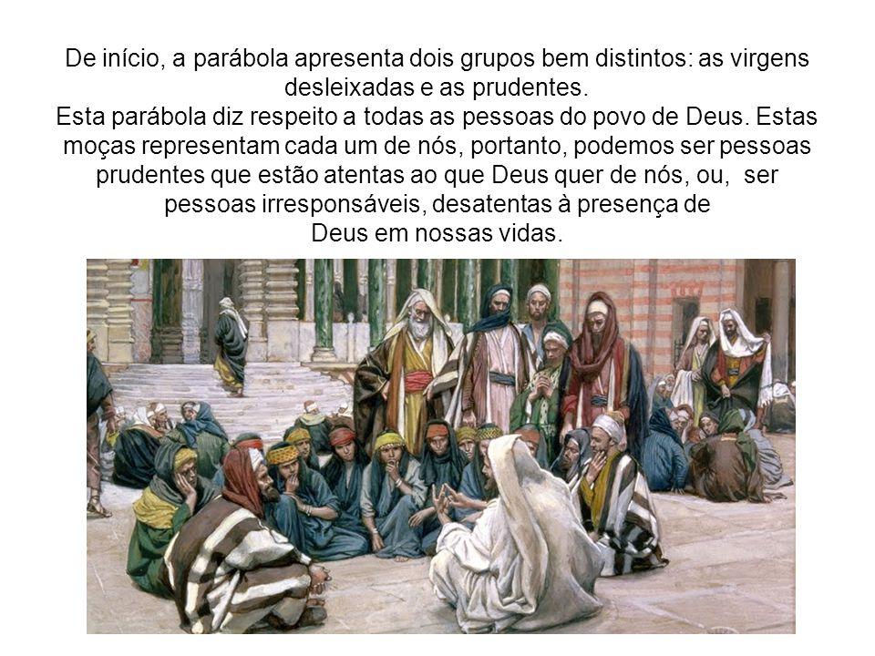 De início, a parábola apresenta dois grupos bem distintos: as virgens desleixadas e as prudentes.