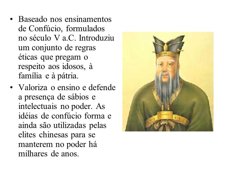 Baseado nos ensinamentos de Confúcio, formulados no século V a. C