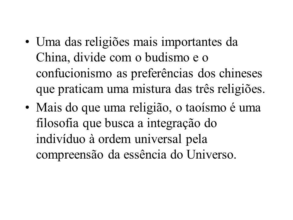 Uma das religiões mais importantes da China, divide com o budismo e o confucionismo as preferências dos chineses que praticam uma mistura das três religiões.