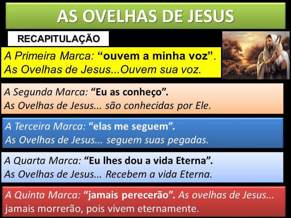 AS OVELHAS DE JESUS RECAPITULAÇÃO. A Primeira Marca: ouvem a minha voz . As Ovelhas de Jesus...Ouvem sua voz.