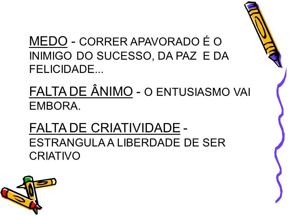 MEDO - CORRER APAVORADO É O INIMIGO DO SUCESSO, DA PAZ E DA FELICIDADE...