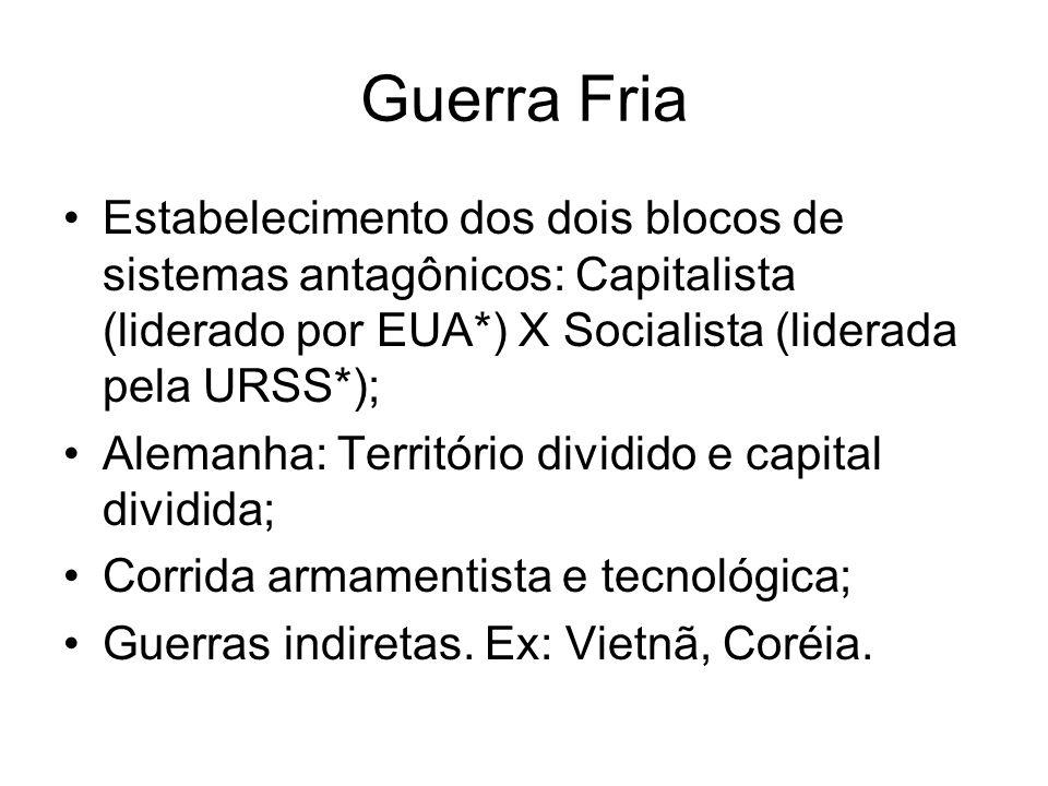 Guerra FriaEstabelecimento dos dois blocos de sistemas antagônicos: Capitalista (liderado por EUA*) X Socialista (liderada pela URSS*);