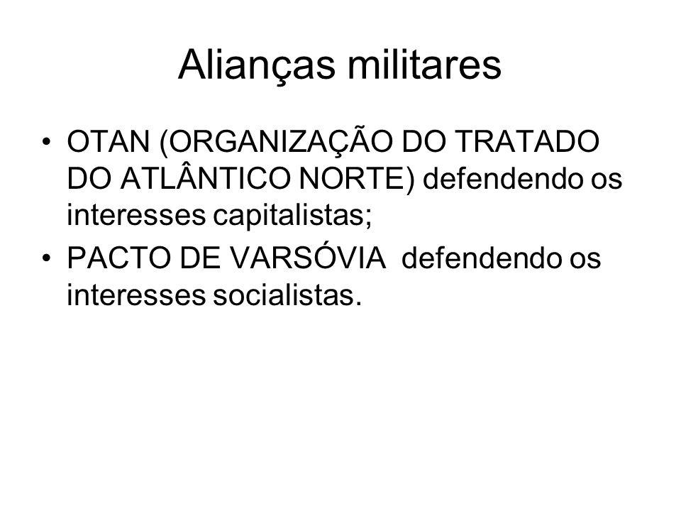 Alianças militaresOTAN (ORGANIZAÇÃO DO TRATADO DO ATLÂNTICO NORTE) defendendo os interesses capitalistas;
