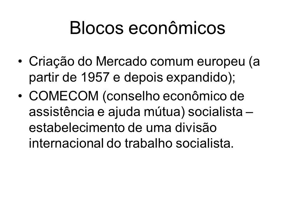 Blocos econômicosCriação do Mercado comum europeu (a partir de 1957 e depois expandido);