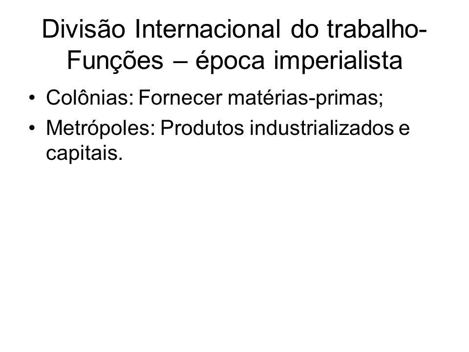 Divisão Internacional do trabalho- Funções – época imperialista