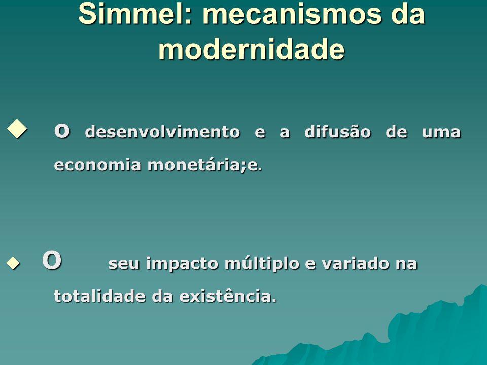 Simmel: mecanismos da modernidade