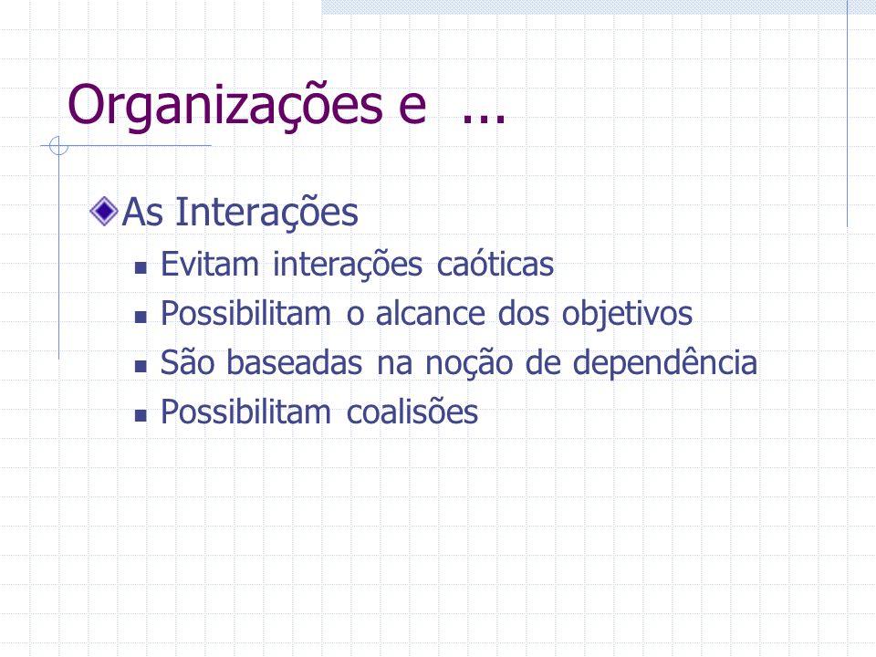Organizações e ... As Interações Evitam interações caóticas