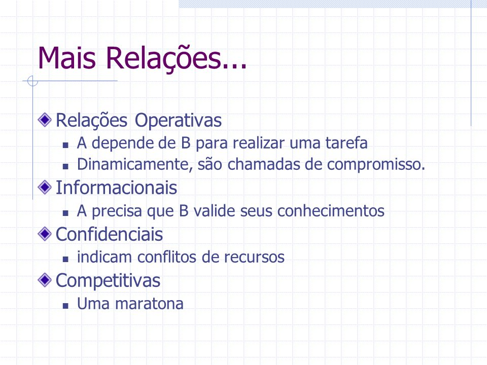 Mais Relações... Relações Operativas Informacionais Confidenciais