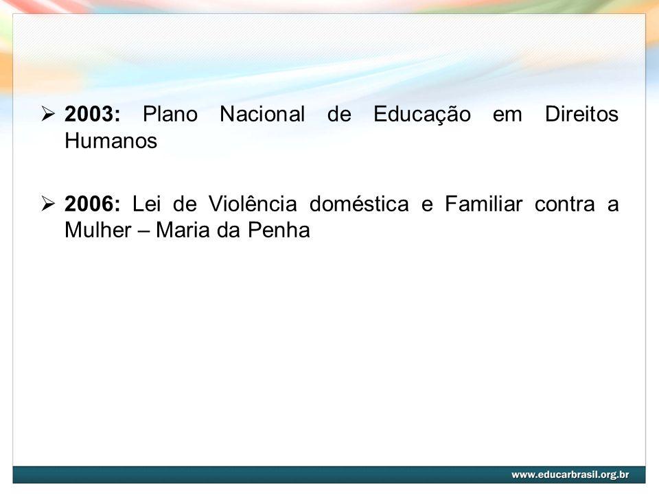 2003: Plano Nacional de Educação em Direitos Humanos