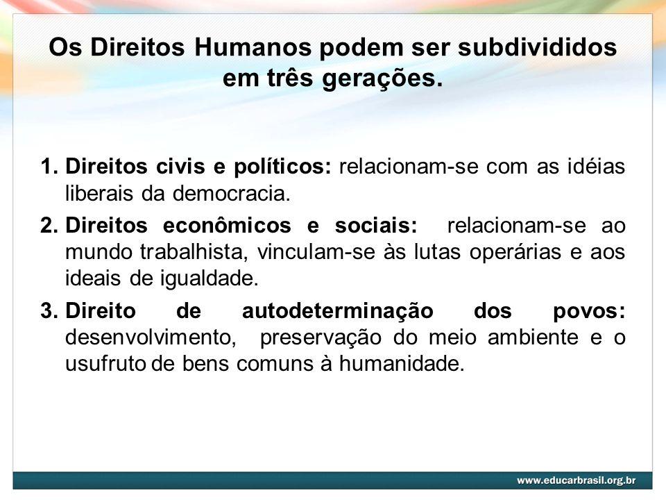 Os Direitos Humanos podem ser subdivididos em três gerações.
