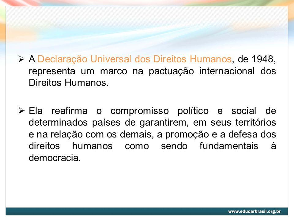 A Declaração Universal dos Direitos Humanos, de 1948, representa um marco na pactuação internacional dos Direitos Humanos.