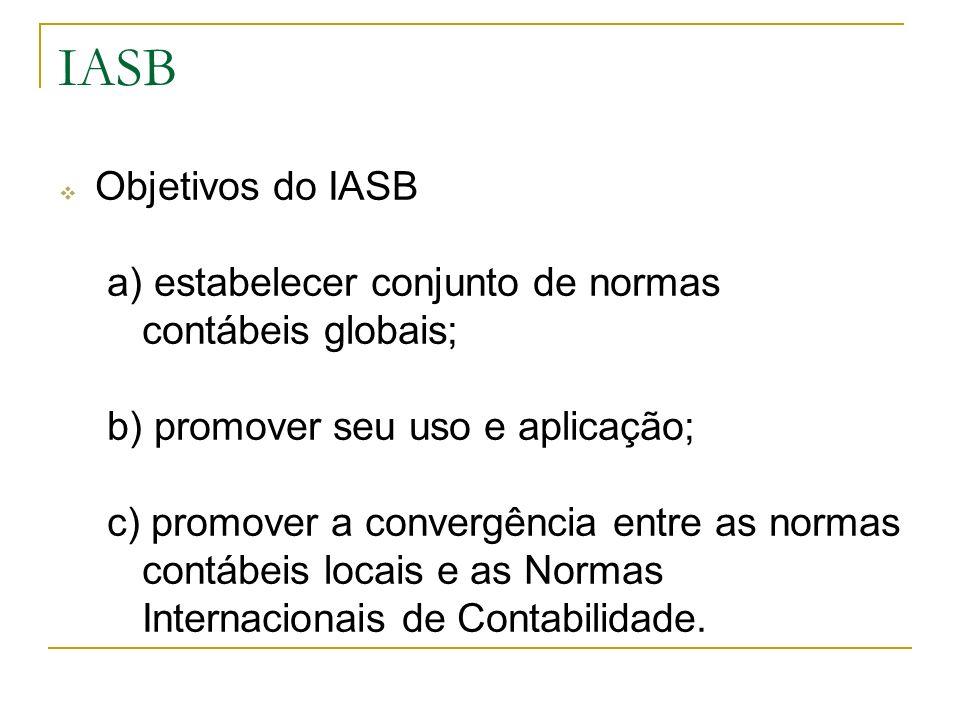 IASB Objetivos do IASB. a) estabelecer conjunto de normas contábeis globais; b) promover seu uso e aplicação;
