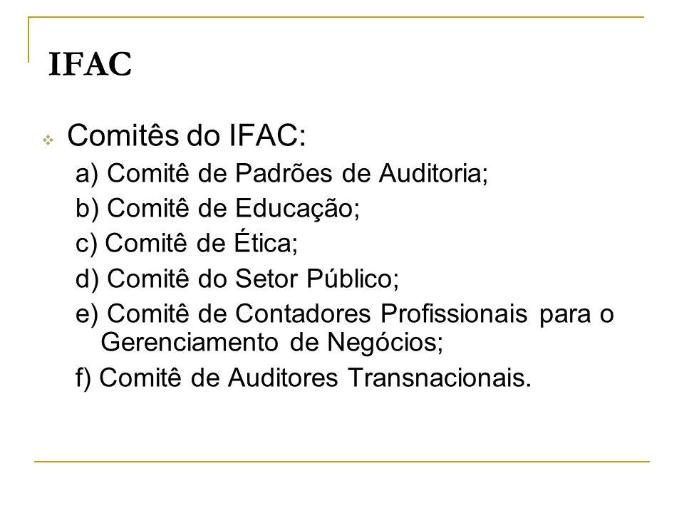 IFAC Comitês do IFAC: a) Comitê de Padrões de Auditoria;