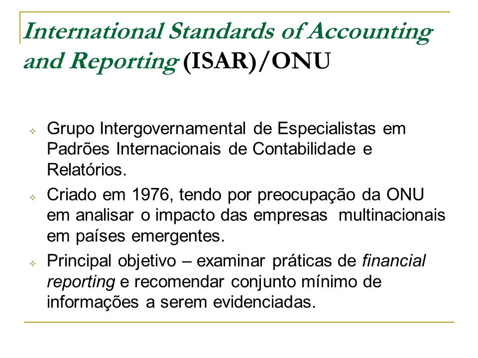 International Standards of Accounting and Reporting (ISAR)/ONU