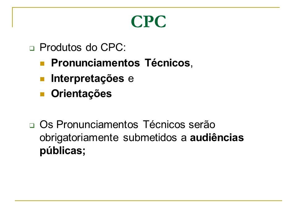 CPC Produtos do CPC: Pronunciamentos Técnicos, Interpretações e