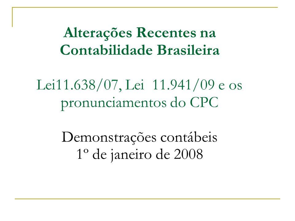 Alterações Recentes na Contabilidade Brasileira Lei11. 638/07, Lei 11