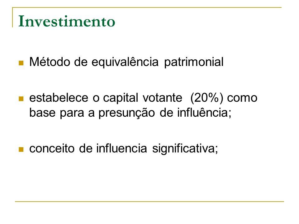 Investimento Método de equivalência patrimonial