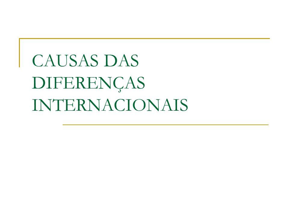 CAUSAS DAS DIFERENÇAS INTERNACIONAIS
