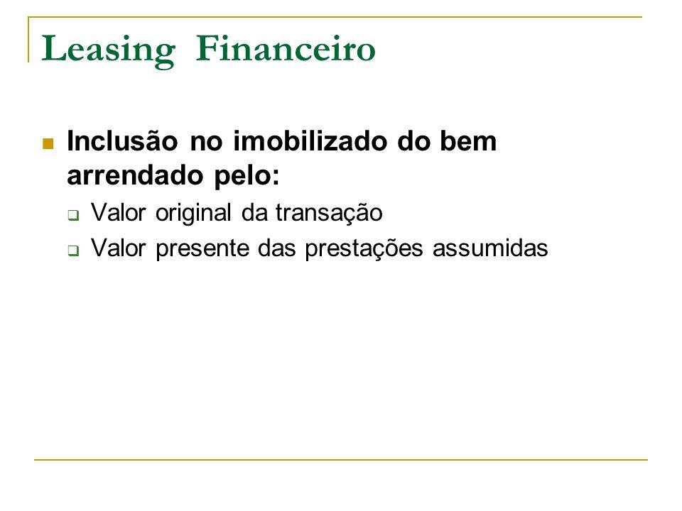 Leasing Financeiro Inclusão no imobilizado do bem arrendado pelo:
