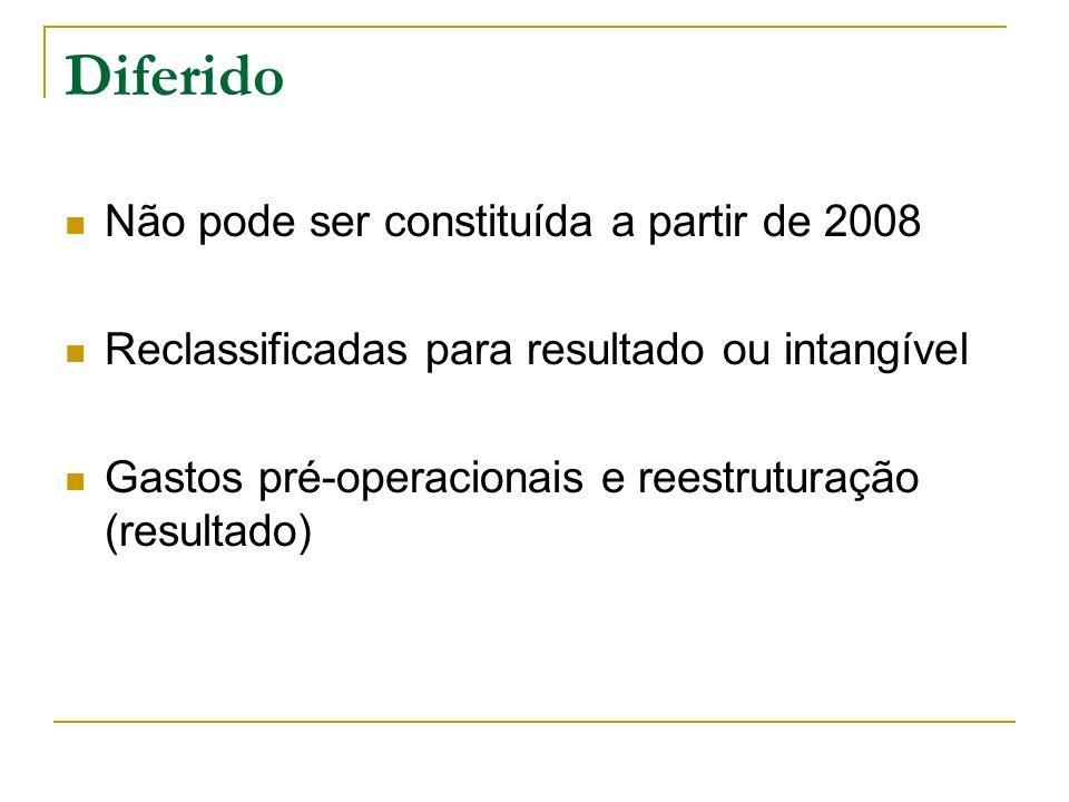 Diferido Não pode ser constituída a partir de 2008