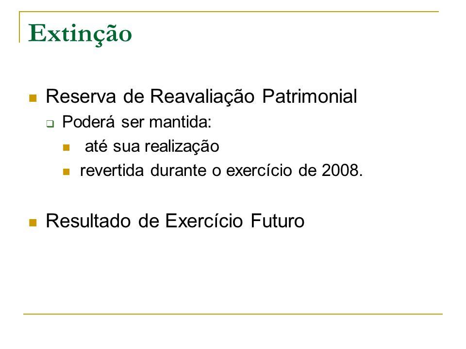 Extinção Reserva de Reavaliação Patrimonial