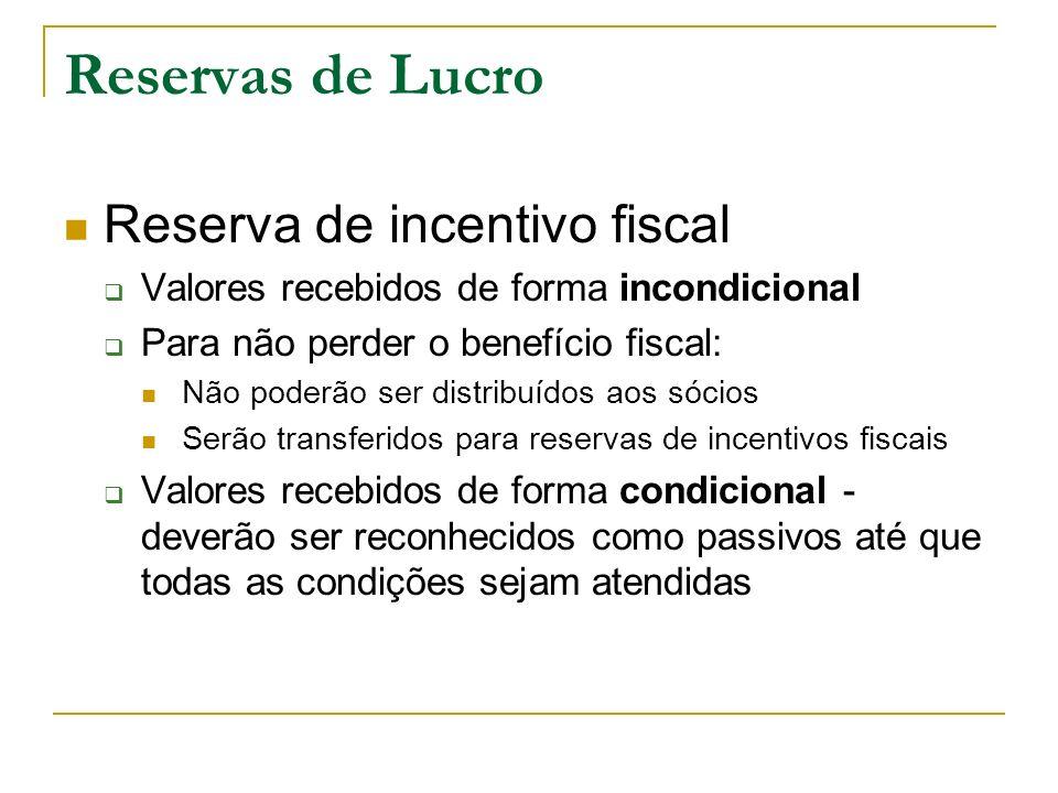 Reservas de Lucro Reserva de incentivo fiscal