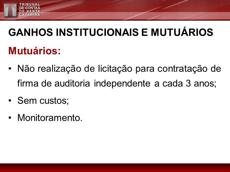 GANHOS INSTITUCIONAIS E MUTUÁRIOS Mutuários: