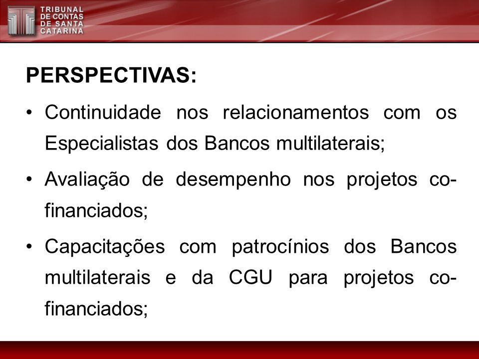 PERSPECTIVAS: Continuidade nos relacionamentos com os Especialistas dos Bancos multilaterais; Avaliação de desempenho nos projetos co-financiados;