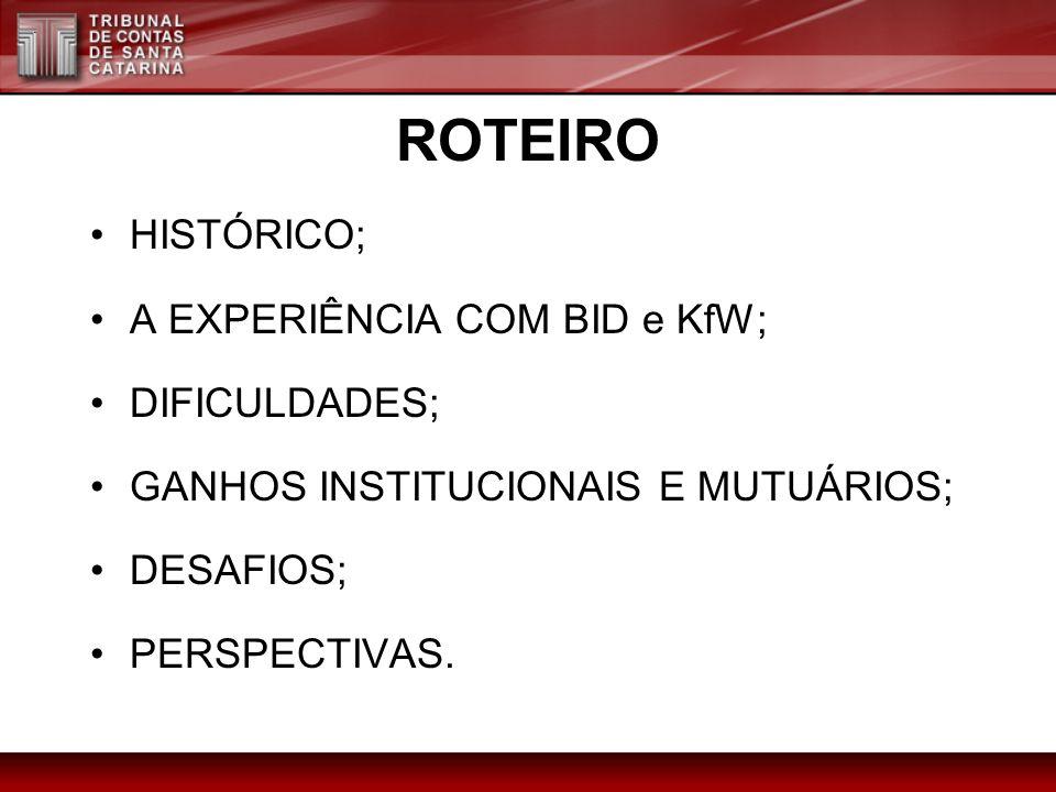 ROTEIRO HISTÓRICO; A EXPERIÊNCIA COM BID e KfW; DIFICULDADES;