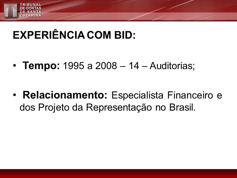 EXPERIÊNCIA COM BID: Tempo: 1995 a 2008 – 14 – Auditorias; Relacionamento: Especialista Financeiro e dos Projeto da Representação no Brasil.