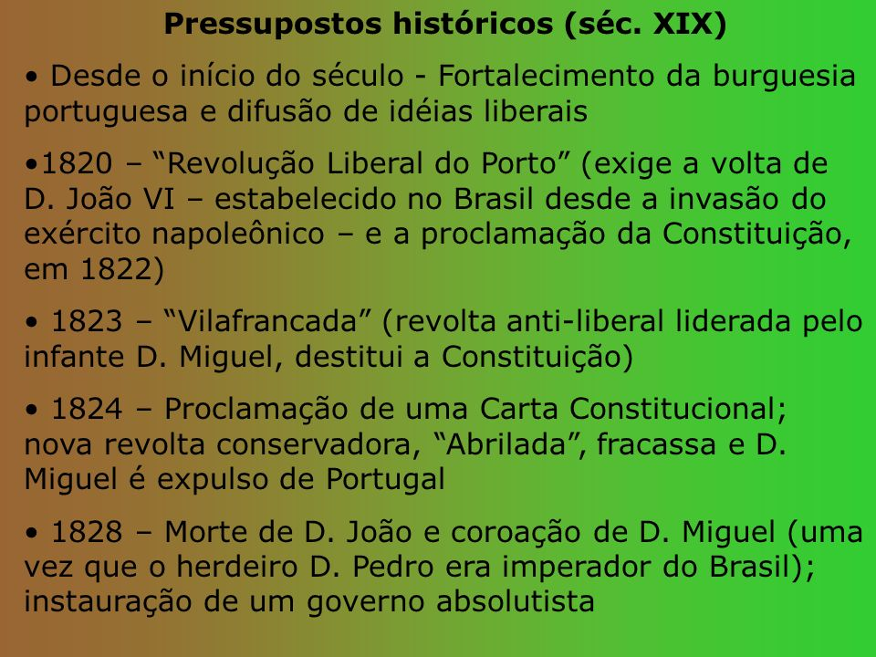 Pressupostos históricos (séc. XIX)