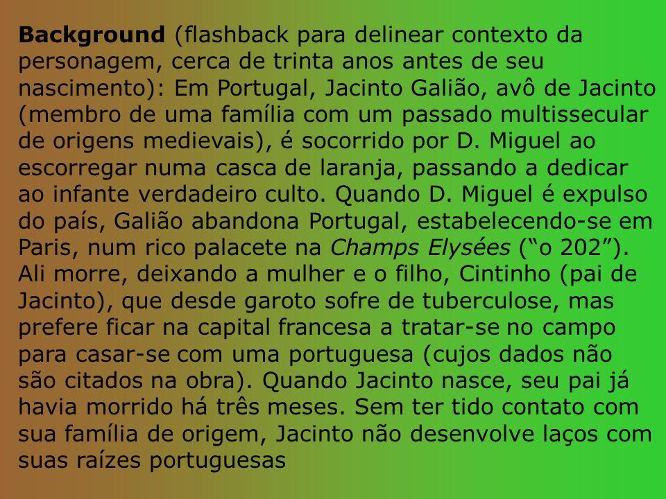 Background (flashback para delinear contexto da personagem, cerca de trinta anos antes de seu nascimento): Em Portugal, Jacinto Galião, avô de Jacinto (membro de uma família com um passado multissecular de origens medievais), é socorrido por D.