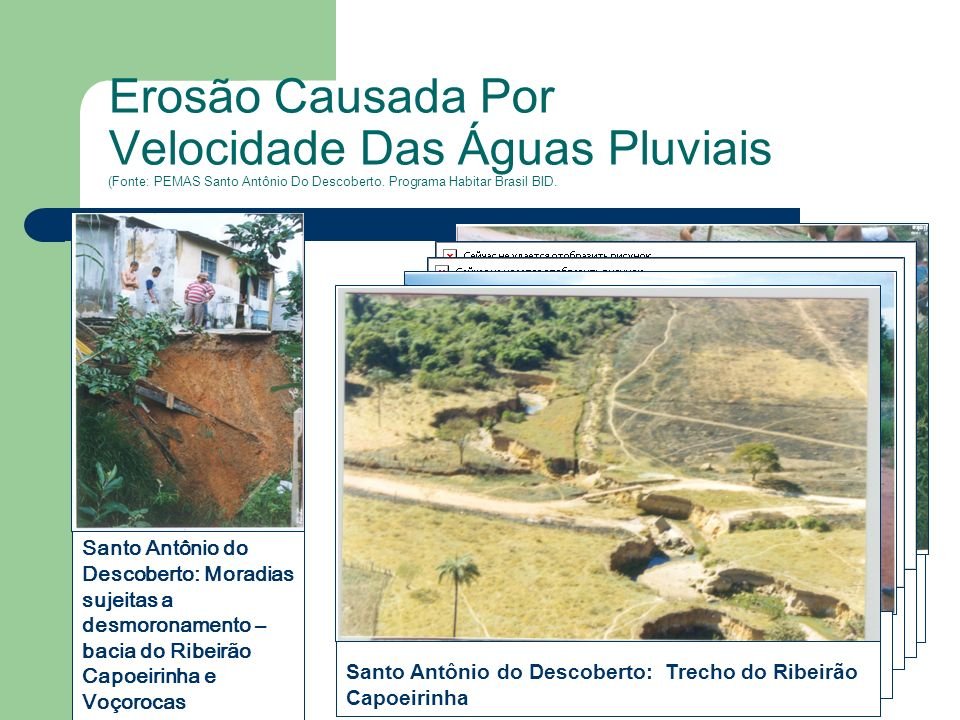 Erosão Causada Por Velocidade Das Águas Pluviais (Fonte: PEMAS Santo Antônio Do Descoberto. Programa Habitar Brasil BID.