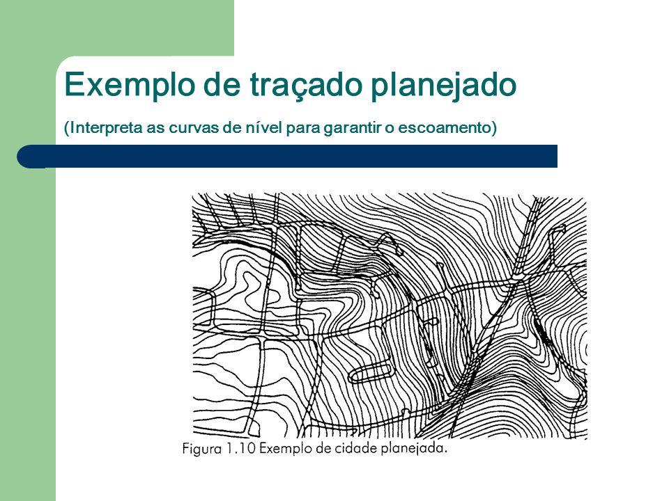 Exemplo de traçado planejado (Interpreta as curvas de nível para garantir o escoamento)