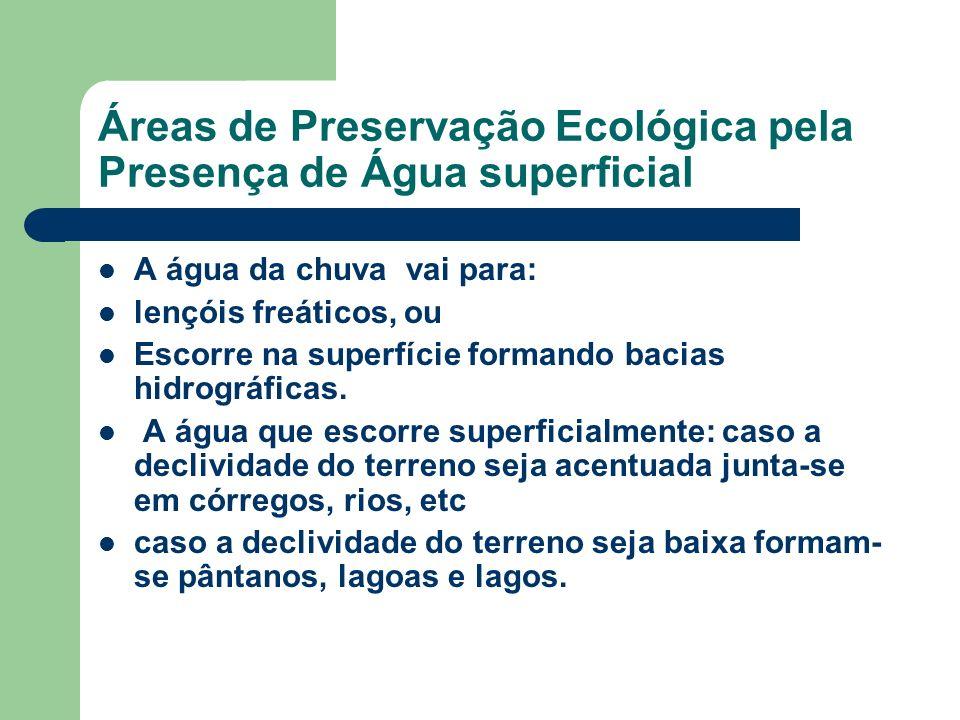 Áreas de Preservação Ecológica pela Presença de Água superficial